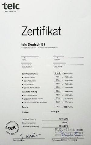 Сертификат Zertifikat Deutsch - IIG